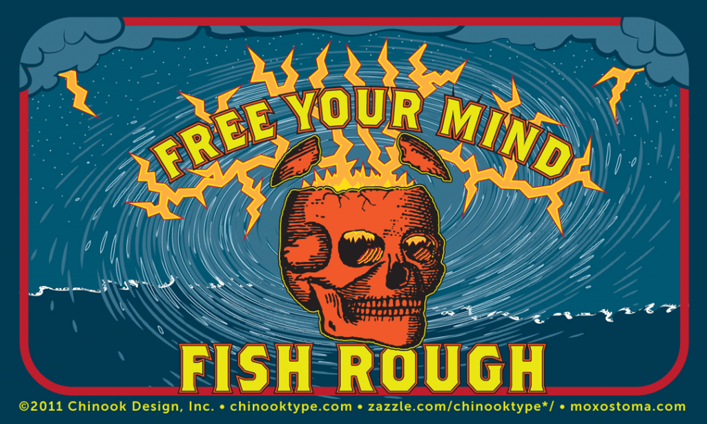 Free Your Mind: Fish Rough! sticker design with skull and lightning