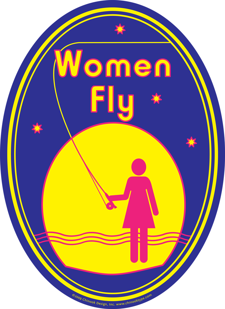 Women Fly! pictogram showing a woman flyfishing