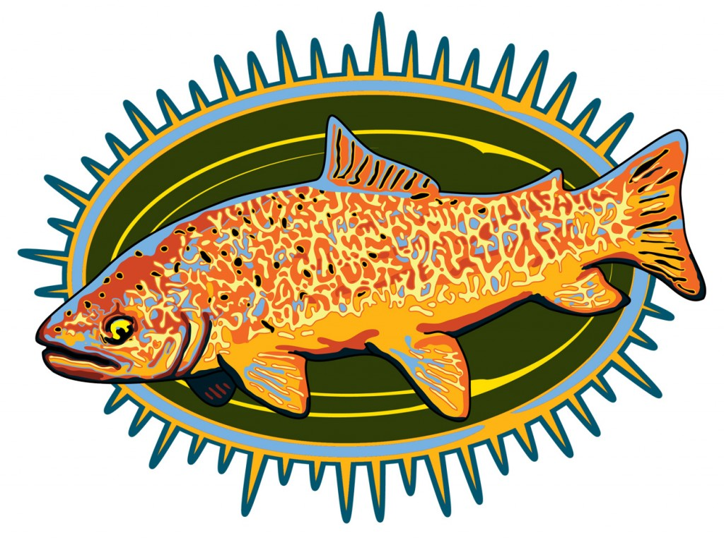 Tiger trout on abstract background
