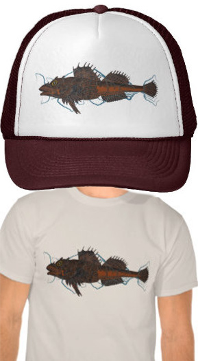 Sculpin on shirts and hats