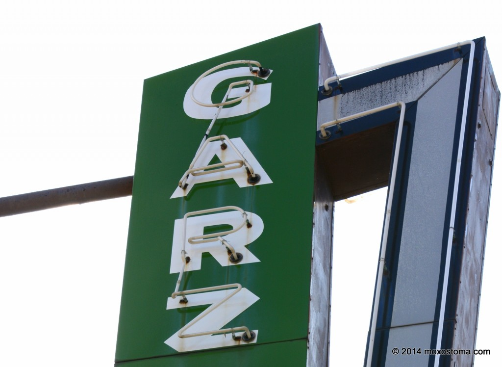 "A neon sign that says ""GARZ."""