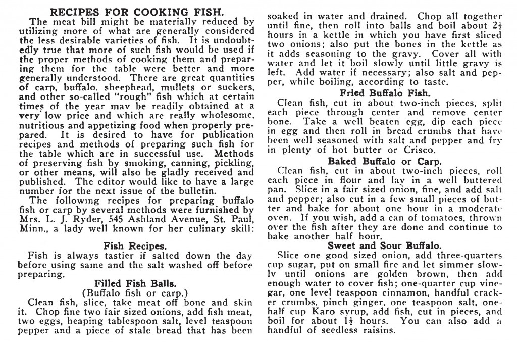 Fish Recipes (from Fins, Feathers and Fur, June 1917, published by the Minnesota Game and Fish Dept.)